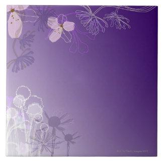 Flores abstractas azulejo cuadrado grande