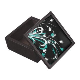 Flores abstractas azules y blancas en negro cajas de recuerdo de calidad