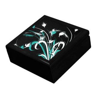 Flores abstractas azules y blancas en negro caja de joyas