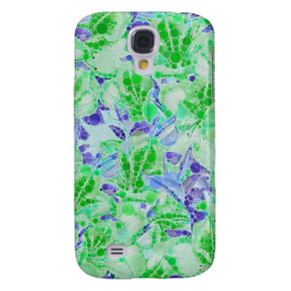 Flores abstractas azulverdes tranquilas funda para galaxy s4