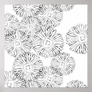 Flores abstractas blancos y negros de la primavera póster