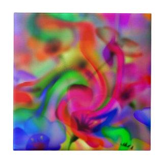 flores abstractas de amapola neonfarben azulejo cuadrado pequeño