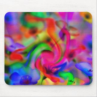 flores abstractas de amapola neonfarben mousepad
