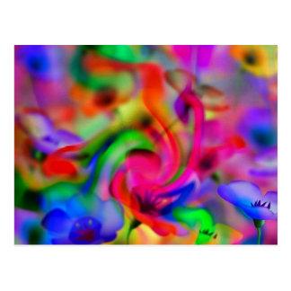flores abstractas de amapola neonfarben tarjetas postales