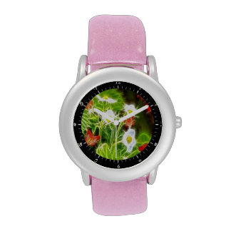 Flores abstractas de la naturaleza del amor del de reloj