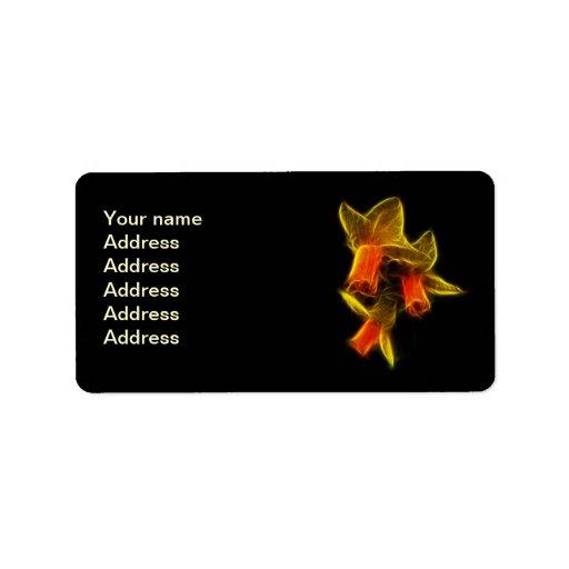 Flores abstractas del narciso etiqueta de dirección