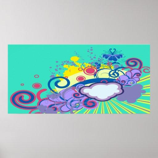 flores abstractas en el cielo notebook-2-01 póster