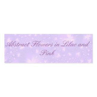 Flores abstractas en lila y tarjeta rosada tarjetas de visita mini