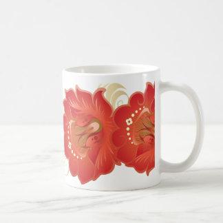 Flores abstractas grandes Rojo-Naranja y hojas de Taza Clásica