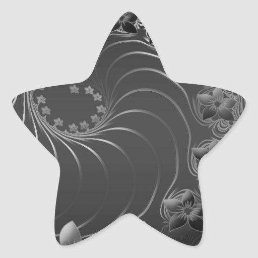 Flores abstractas gris oscuro calcomanías forma de estrellaes personalizadas