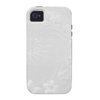 Flores abstractas grises claras iPhone 4 funda