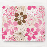 Flores abstractas marrones y rosadas lindas de la  alfombrillas de ratones