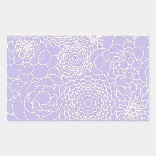 Flores abstractas modernas del diseño floral de la pegatina rectangular