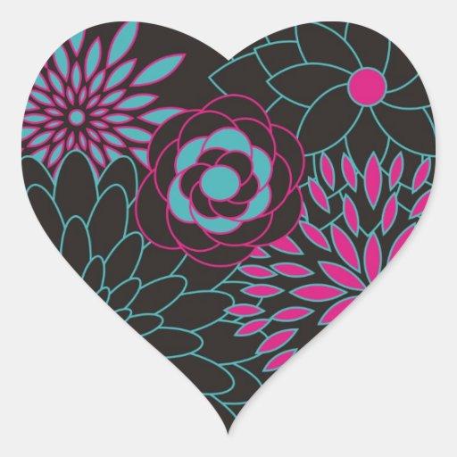 Flores abstractas modernas del diseño floral pegatina en forma de corazón