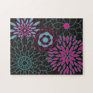 Flores abstractas modernas del diseño floral rompecabeza con fotos