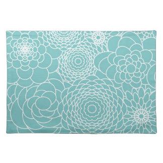 Flores abstractas modernas florales azules mantel