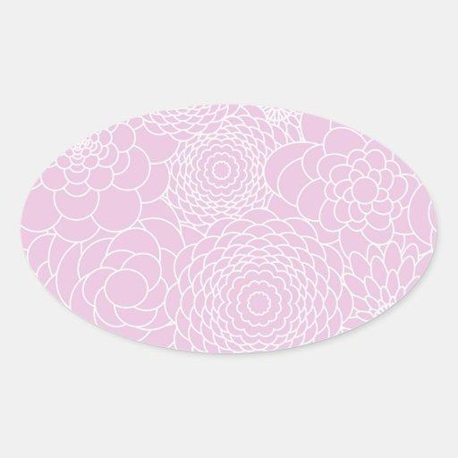 Flores abstractas modernas rosadas del diseño calcomania de oval