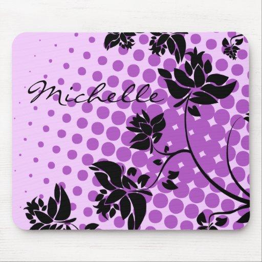 Flores abstractas púrpuras y negras tapetes de ratones