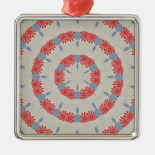Flores abstractas rojas ornaments para arbol de navidad