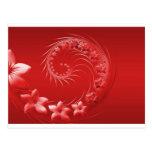 Flores abstractas rojas postal
