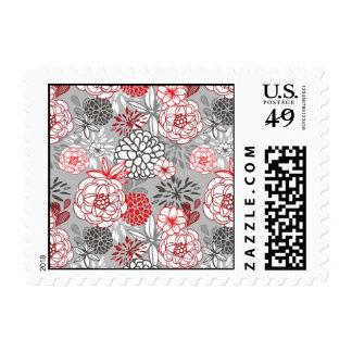 Flores abstractas rojas y grises sello