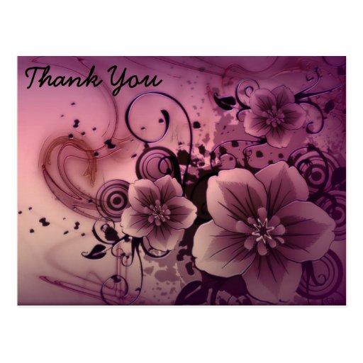 Flores abstractas rosadas tarjetas postales