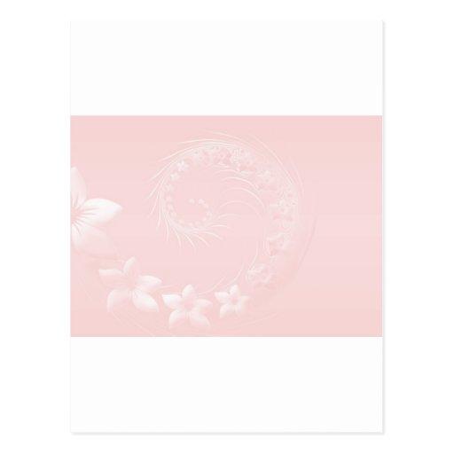 Flores abstractas rosas claras tarjeta postal