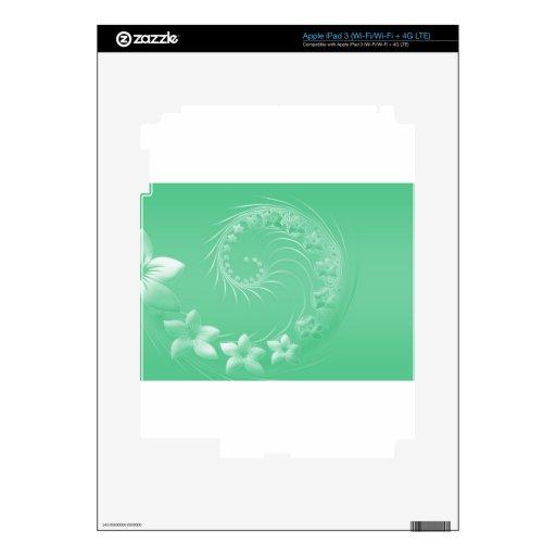 Flores abstractas verdes claras iPad 3 pegatina skin