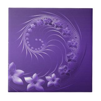 Flores abstractas violetas teja  ceramica