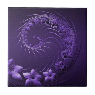 Flores abstractas violetas oscuras azulejo ceramica