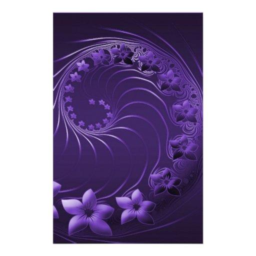 Flores abstractas violetas oscuras papelería personalizada
