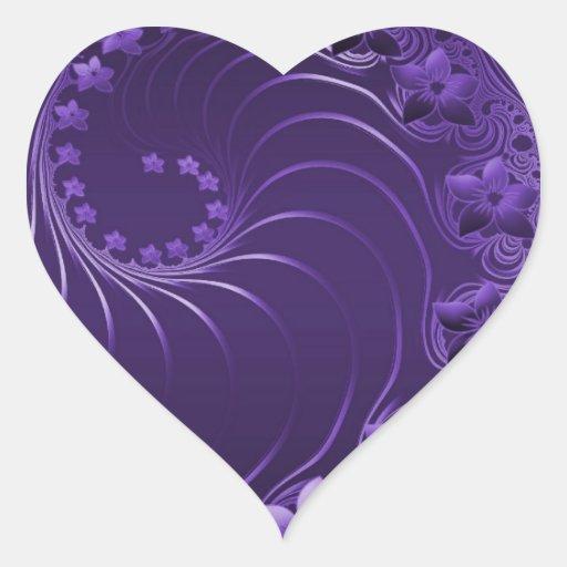 Flores abstractas violetas oscuras pegatina en forma de corazón