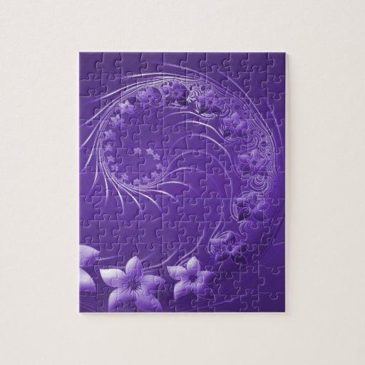 Flores abstractas violetas rompecabezas