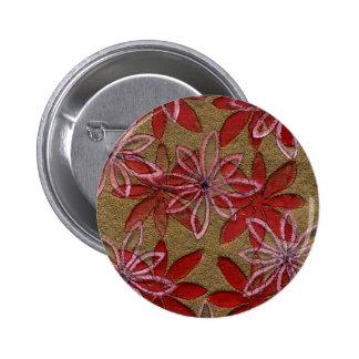 Flores acolchadas - bloque tallado mano - rosa roj pin redondo 5 cm