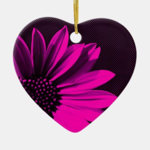 flores adorno navideño de cerámica en forma de corazón