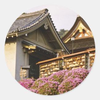 Flores afortunadas del templo de Kyoto rosada Pegatinas Redondas
