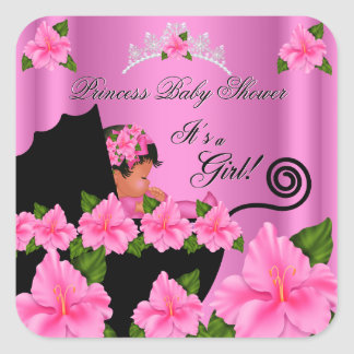 Flores afroamericanas del chica de la princesa pegatina cuadrada