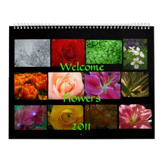 Flores agradables calendario de pared