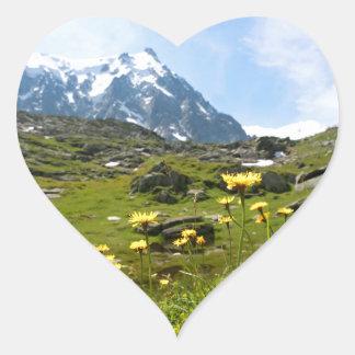¡Flores alpinas - hermosas! Pegatina En Forma De Corazón