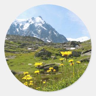 ¡Flores alpinas - hermosas! Pegatina Redonda