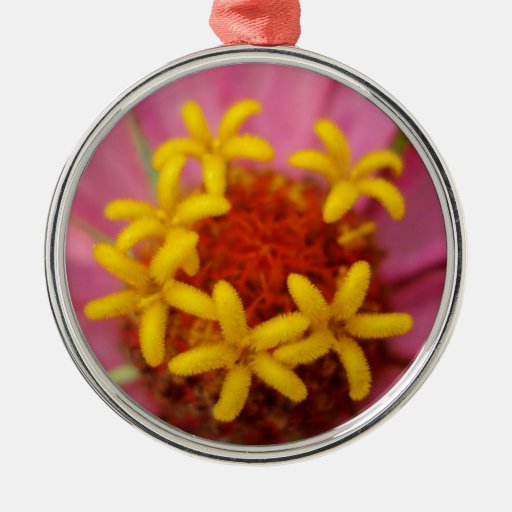 Flores amarillas adorables adorno navideño redondo de metal