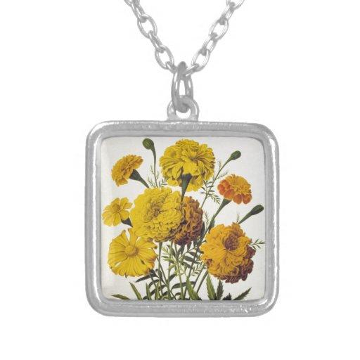 Flores amarillas antiguas collares personalizados