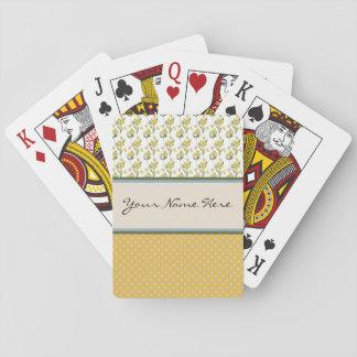 Flores amarillas brillantes en lunares baraja de póquer