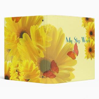 flores amarillas, carpeta del trabajo del paso