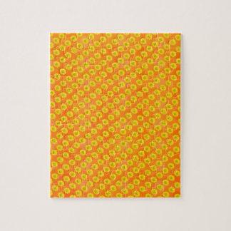 Flores amarillas con el fondo anaranjado puzzle con fotos