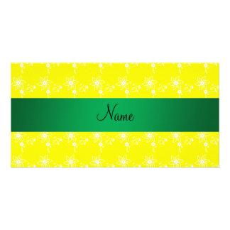 Flores amarillas conocidas personalizadas tarjeta fotografica personalizada