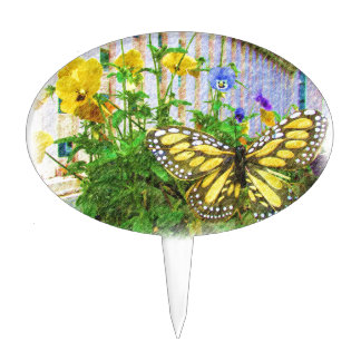 Flores amarillas de la mariposa y de la viola decoraciones de tartas