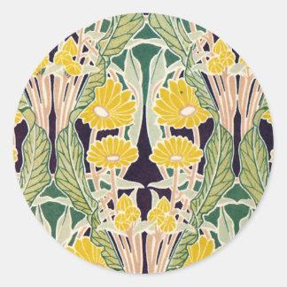 Flores amarillas de Nouveau del arte Pegatina Redonda
