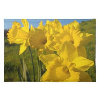Flores amarillas de oro del narciso que brillan in manteles individuales