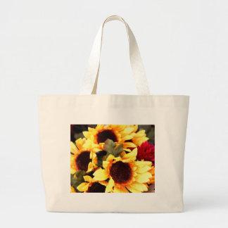 Flores amarillas del arte bolsa de tela grande